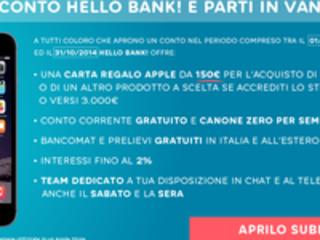 Apri un conto Hello Bank, subito 150€ di sconto per acquistare l'iPhone 6
