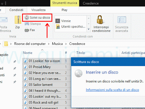 Come masterizzare su Windows 10 senza programmi (film, musica, foto, documenti ecc)