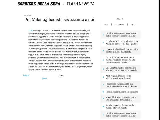 Pm Milano,jihadisti Isis accanto a noi