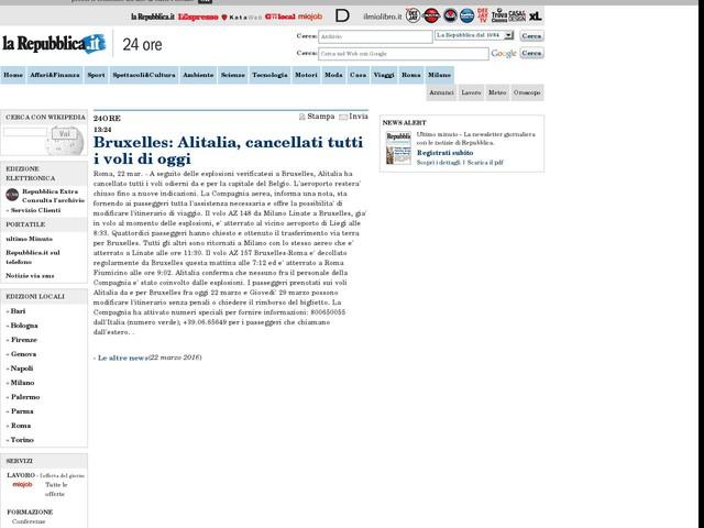 Bruxelles: Alitalia, cancellati tutti i voli di oggi