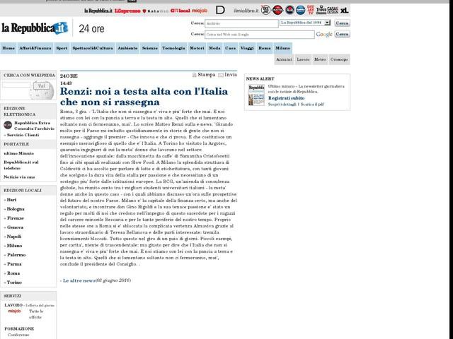 Renzi: noi a testa alta con l'Italia che non si rassegna