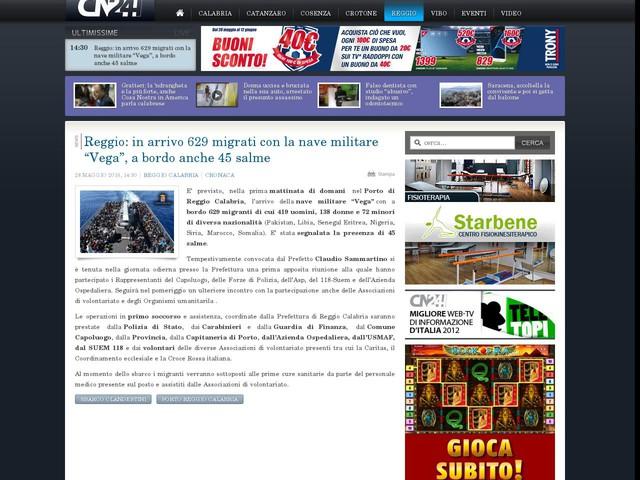 """Reggio: in arrivo 629 migrati con la nave militare """"Vega"""", a bordo anche 45 salme"""