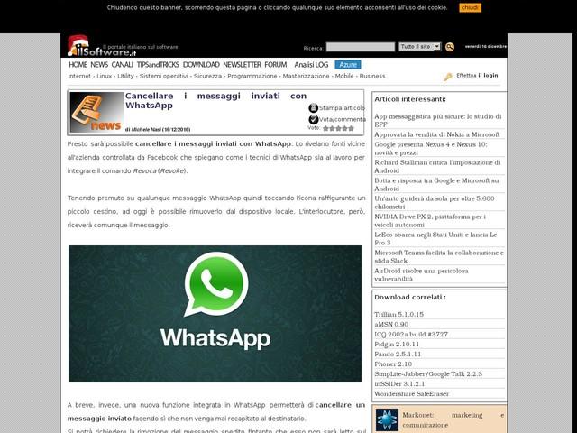 Cancellare i messaggi inviati con WhatsApp
