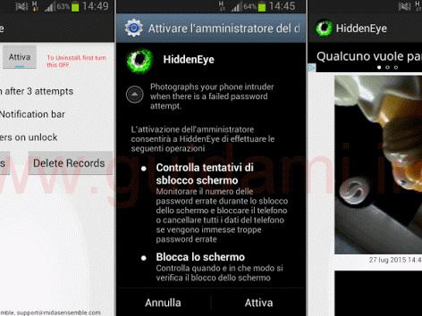 Android, scattare foto di nascosto a chi cerca di sbloccare il cellulare