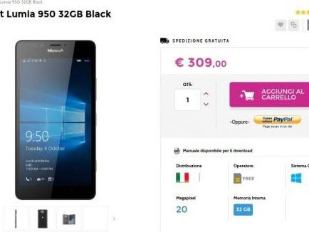 Offerte Glistockisti.it Lumia 950 Garanzia Italia a 309 euro