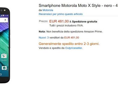 Promozione Motorola Moto X Style a 481 euro su Amazon Italia (e Moto X 2014 a 279 euro)