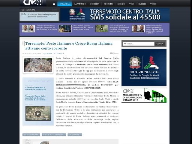 Terremoto: Poste Italiane e Croce Rossa Italiana attivano conto corrente