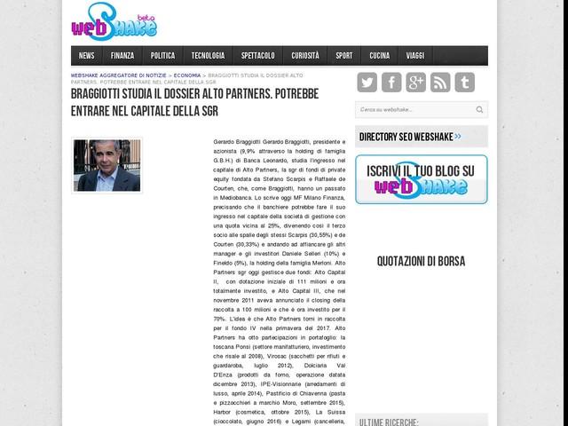 Braggiotti studia il dossier Alto Partners. Potrebbe entrare nel capitale della sgr