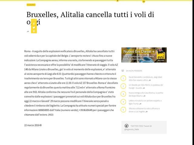 Bruxelles, Alitalia cancella tutti i voli di oggi