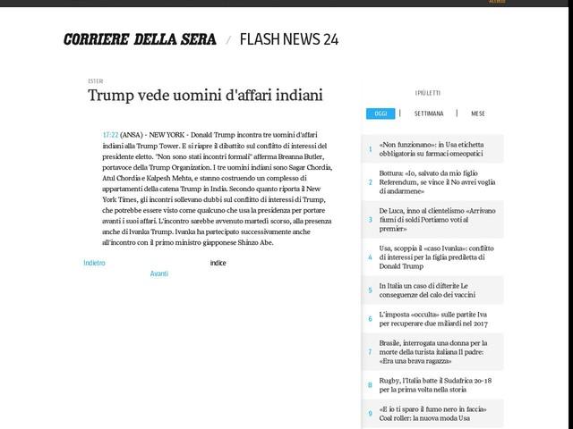 Trump vede uomini d'affari indiani