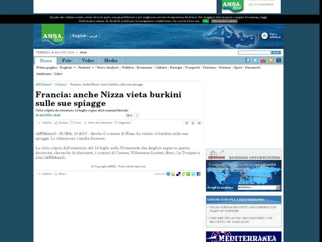 Francia: anche Nizza vieta burkini sulle sue spiagge