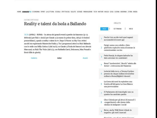 Reality e talent da Isola a Ballando
