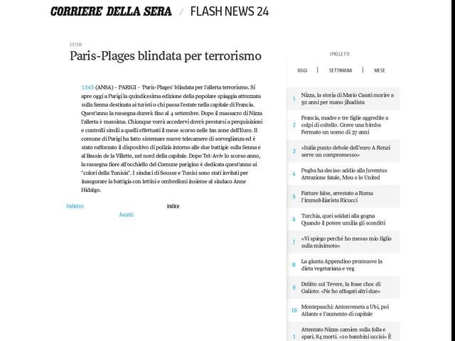 Paris-Plages blindata per terrorismo
