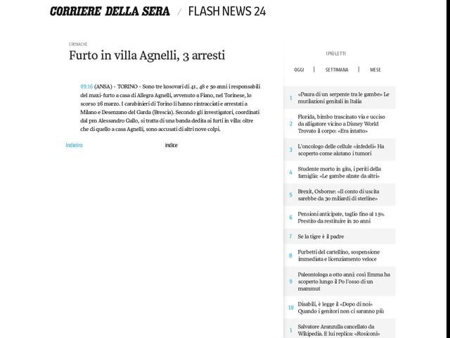 Furto in villa Agnelli, 3 arresti