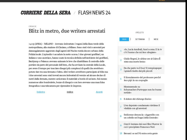 Blitz in metro, due writers arrestati