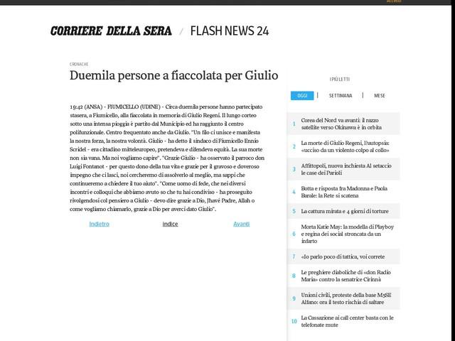 Duemila persone a fiaccolata per Giulio