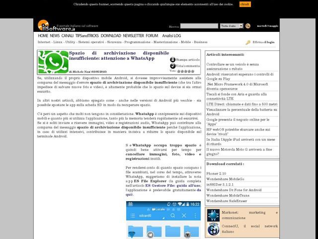 Spazio di archiviazione disponibile insufficiente: attenzione a WhatsApp