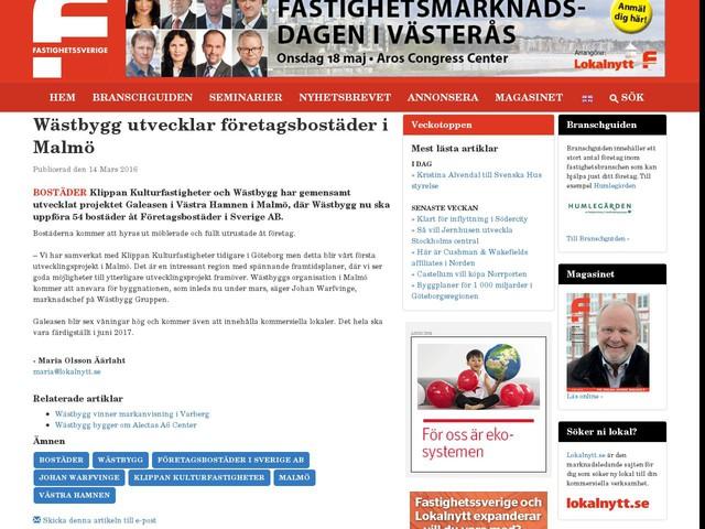 Wästbygg utvecklar företagsbostäder i Malmö