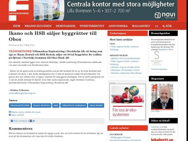 Ikano och HSB säljer byggrätter till Obos