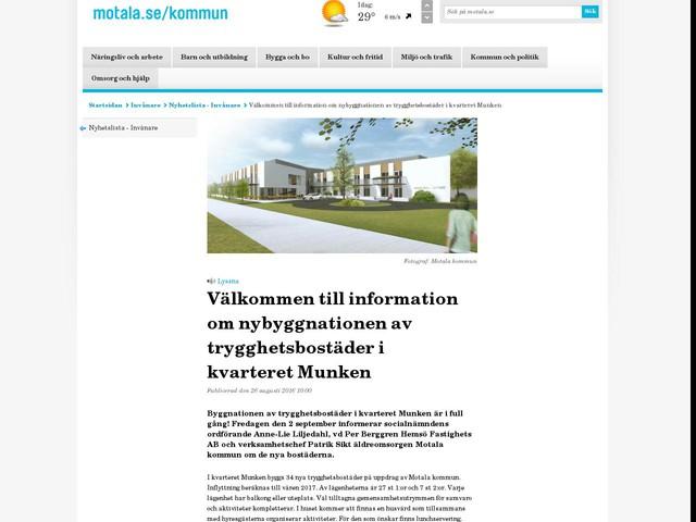 Välkommen till information om nybyggnationen av trygghetsbostäder i kvarteret Munken