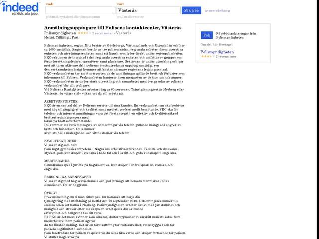 Anmälningsupptagare till Polisens kontaktcenter, Västerås - Polismyndigheten - Västerås