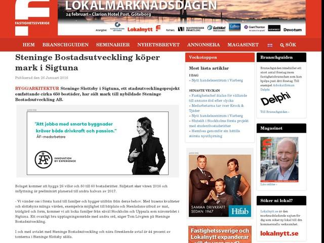 Steninge Bostadsutveckling köper mark i Sigtuna