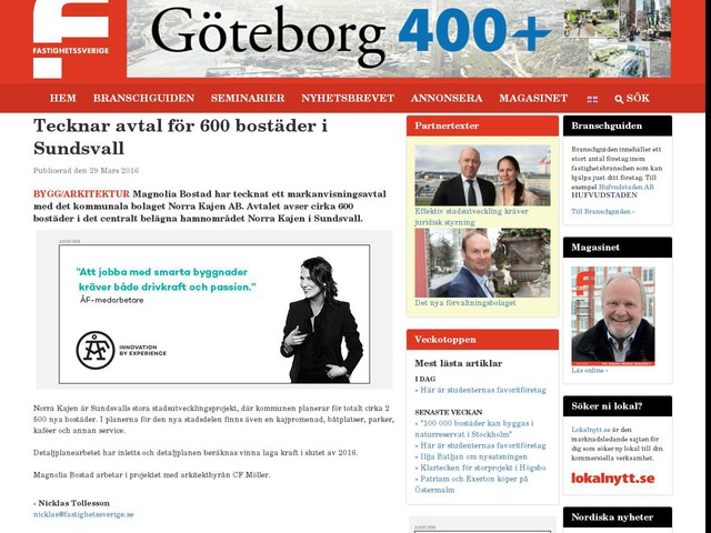 Tecknar avtal för 600 bostäder i Sundsvall