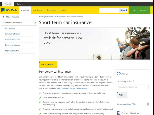 Cheapest Temporary Car Insurance Cover Uk