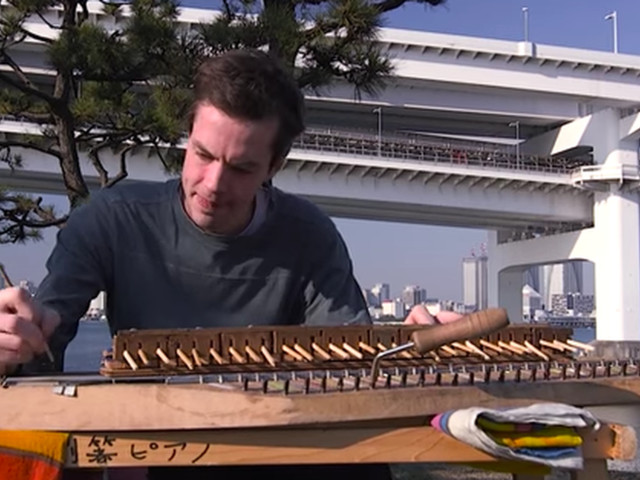 Please enjoy the dulcet tones of this 'piano' made out of chopsticks