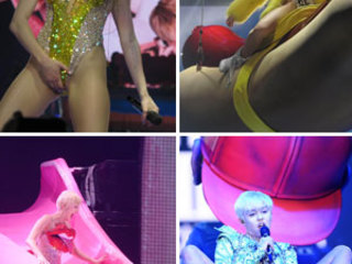 Miley Cyrus grabs her crotch and gives herself a wedgie as Bangerz tour hits London like a Wrecking Ball
