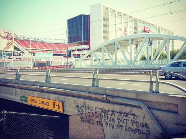 Graffiti out side of Levi stadium after its completion in 2014.