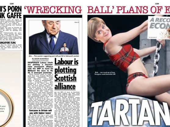Nicola Sturgeon blasts The Sun newspaper for its 'sexist' mock-up of her in a tartan bikini riding a wrecking ball like Miley Cyrus