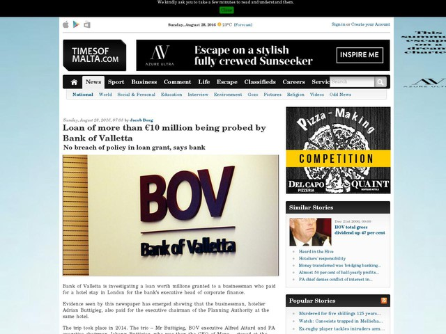 Loan of more than €10 million being probed by Bank of Valletta