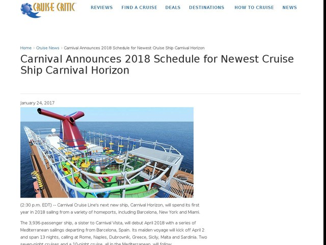 Carnival Announces 2018 Schedule for Newest Cruise Ship Carnival Horizon