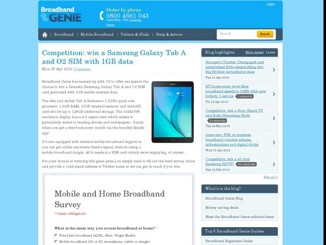 Competition: win a Samsung Galaxy Tab A and O2 SIM with 1GB data