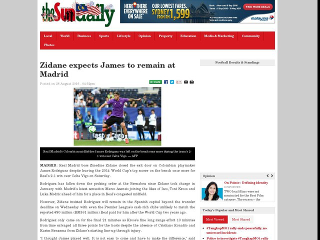 Zidane expects James to remain at Madrid