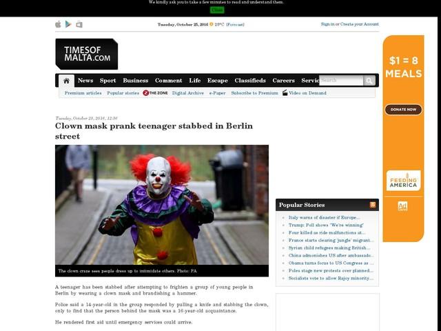Clown mask prank teenager stabbed in Berlin street