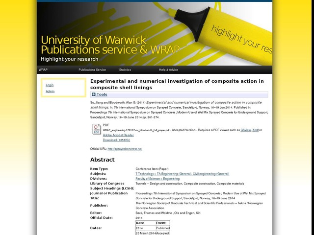 Experimental and numerical investigation of composite action in composite shell linings