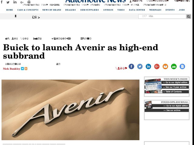 Buick to launch Avenir as high-end subbrand