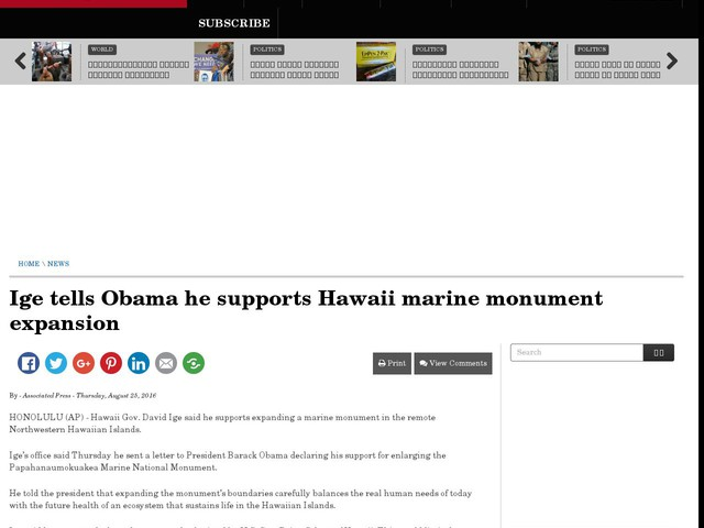 Ige tells Obama he supports Hawaii marine monument expansion