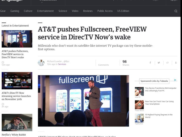 AT&T pushes Fullscreen, FreeVIEW service in DirecTV Now's wake