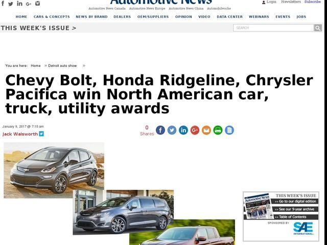 Chevy Bolt, Honda Ridgeline, Chrysler Pacifica win North American car, truck, utility awards