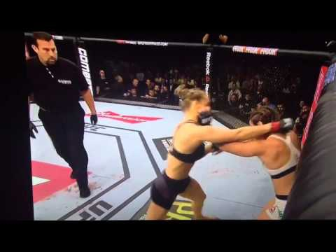 Video of Ronda Rousey Knocking out Beth Correia in 34 seconds.