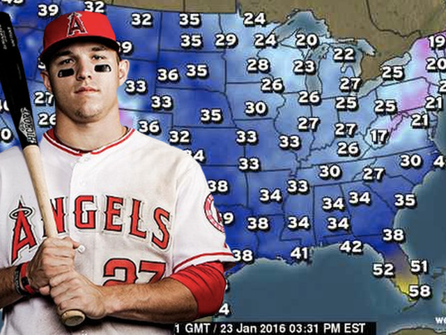 Mike Trout, secret meteorologist, reported on Snowmageddon for the Weather Channel