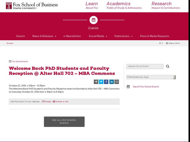 Welcome Back PhD Students and Faculty Reception @ Alter Hall 702 – MBA Commons
