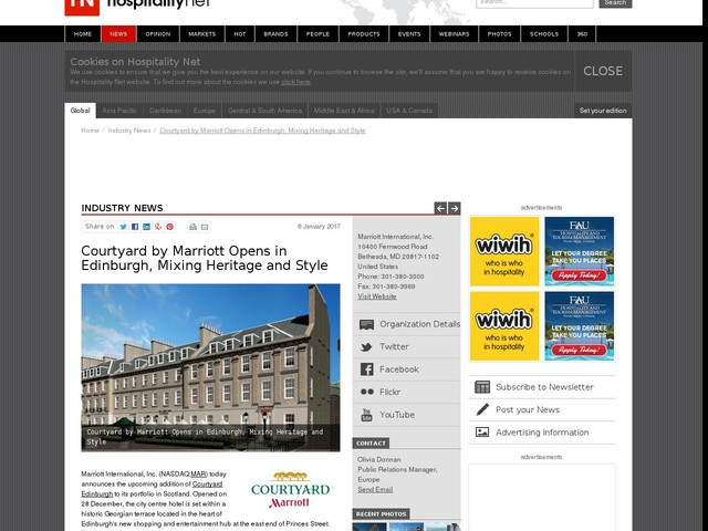 Courtyard by Marriott Opens in Edinburgh, Mixing Heritage and Style