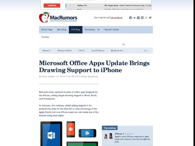 Microsoft Office Apps Update Brings Drawing Support to iPhone