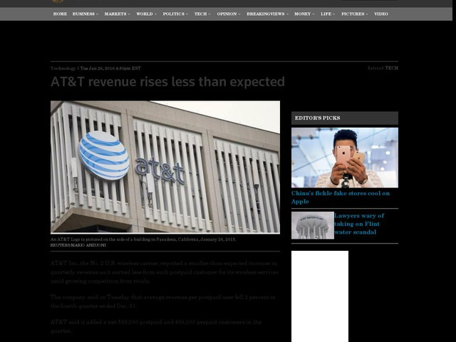 AT&T revenue rises less than expected