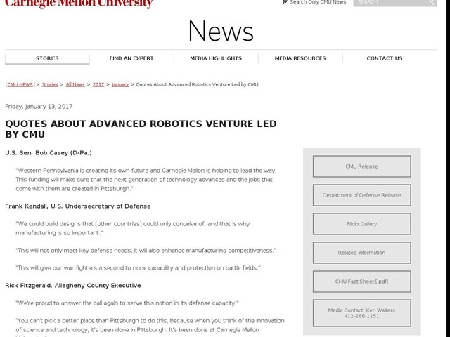Quotes About Advanced Robotics Venture Led by CMU