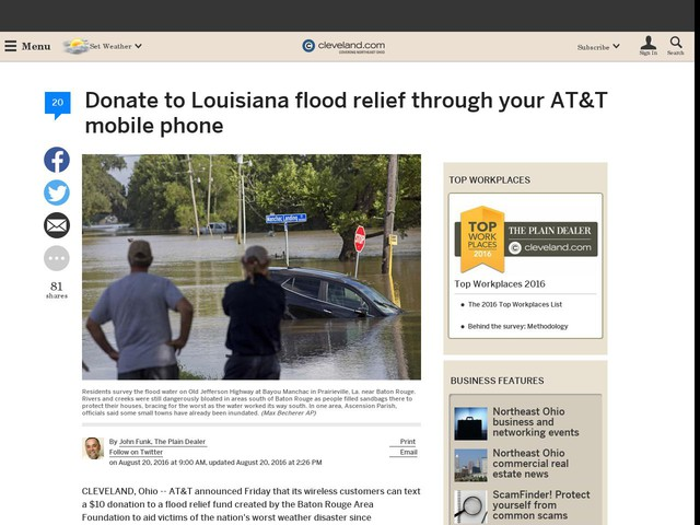 Donate to Louisiana flood relief through your AT&T mobile phone